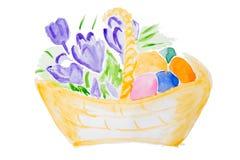 watercolor λουλουδιών καλαθιών Στοκ φωτογραφία με δικαίωμα ελεύθερης χρήσης