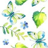 Watercolor πεταλούδων και φύλλων άνευ ραφής διάνυσμα προτύπων Στοκ Εικόνα