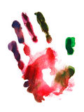 Watercolor που απομονώνεται handprint Στοκ φωτογραφία με δικαίωμα ελεύθερης χρήσης