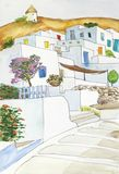 Watercolor που σύρει και που χρωματίζει του χωριού grecce Στοκ Εικόνες