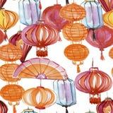 Watercolor που σύρει το άνευ ραφής κινεζικό φανάρι σχεδίων, νέο έτος γιρλαντών λαμπτήρων εορταστικό απεικόνιση αποθεμάτων