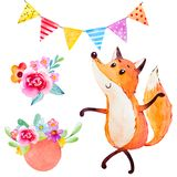 Watercolor που τίθεται με την αλεπού Στοκ Εικόνα
