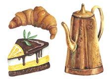 Watercolor που τίθεται με το ποτό και τα γλυκά διανυσματική απεικόνιση