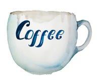 Watercolor που χρωματίζει ένα φλιτζάνι του καφέ στοκ φωτογραφία