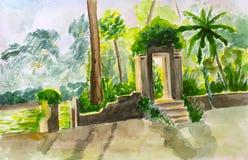 Watercolor που χρωματίζει τις παλαιές πύλες στην πράσινη ζούγκλα Στοκ φωτογραφία με δικαίωμα ελεύθερης χρήσης