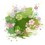 Watercolor που χρωματίζει το μίμησης πράσινο υπόβαθρο με τα ρόδινα λουλούδια ελεύθερη απεικόνιση δικαιώματος