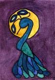 Watercolor που χρωματίζει Peacock Στοκ Φωτογραφία