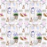 Watercolor Προβηγκία σχέδια σε ένα άνευ ραφής σχέδιο lavender, έπιπλα, παράθυρο διανυσματική απεικόνιση
