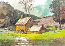 Watercolor σπιτιών εξοχικών σπιτιών Στοκ Εικόνες