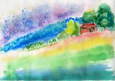 Watercolor σπιτιών τοπίων σκίτσων Στοκ εικόνες με δικαίωμα ελεύθερης χρήσης