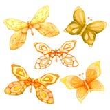 Watercolor συλλογής των πετώντας πεταλούδων Για το σχέδιο κάλυψης, συσκευασία, υπόβαθρα διανυσματική απεικόνιση