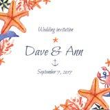 Watercolor συρμένη χέρι κάρτα γαμήλιας πρόσκλησης θάλασσας ναυτική Στοκ Φωτογραφία