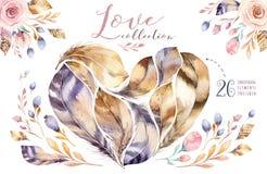 Watercolor συρμένο χέρι σύνολο φτερών έργων ζωγραφικής δονούμενο Μορφή καρδιών φτερών ύφους Boho Απεικόνιση αγάπης που απομονώνετ Στοκ φωτογραφία με δικαίωμα ελεύθερης χρήσης