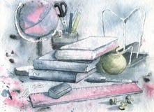 Watercolor σχεδίων με μια απεικόνιση των σχολικών προμηθειών Για το σχέδιο αφισών, αφίσα, υπόβαθρα, έγγραφα εκπαίδευσης διανυσματική απεικόνιση