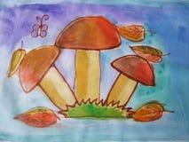 Watercolor σχεδίων μανιταριών Στοκ εικόνες με δικαίωμα ελεύθερης χρήσης