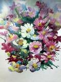 Watercolor τέχνης άγριος ζωηρόχρωμος κατασκευασμένος λουλουδιών υποβάθρου αφηρημένος πορφυρός άσπρος ιώδης Στοκ φωτογραφία με δικαίωμα ελεύθερης χρήσης