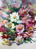 Watercolor τέχνης άγριος ζωηρόχρωμος κατασκευασμένος λουλουδιών υποβάθρου αφηρημένος πορφυρός άσπρος ιώδης Στοκ Εικόνα