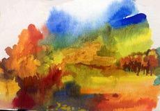 Watercolor τέχνης ζωηρόχρωμος κατασκευασμένος φθινοπώρου υποβάθρου αφηρημένος Στοκ εικόνες με δικαίωμα ελεύθερης χρήσης