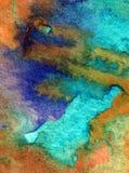 Watercolor τέχνης ζωηρόχρωμο κατασκευασμένο υγρό πλύσιμο νερού παραλιών επιφάνειας υποβάθρου αφηρημένο που θολώνεται Στοκ Εικόνα