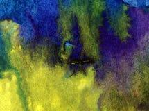 Watercolor τέχνης ζωηρόχρωμο κατασκευασμένο υγρό πλύσιμο νερού παραλιών επιφάνειας υποβάθρου αφηρημένο που θολώνεται Στοκ Φωτογραφία