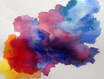 Watercolor τέχνης υποβάθρου αφηρημένο δονούμενο υγρό σύννεφο ουρανού πρωινού πλυσίματος ζωηρόχρωμο κατασκευασμένο διανυσματική απεικόνιση
