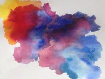 Watercolor τέχνης υποβάθρου αφηρημένο υγρό σύννεφο ουρανού πρωινού πλυσίματος ζωηρόχρωμο κατασκευασμένο ελεύθερη απεικόνιση δικαιώματος