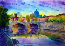 Watercolor της βασιλικής Sant Pietro, ποταμός Tiber και Ponte Vittorio Emanuele, Βατικανό, Ρώμη, Ιταλία Στοκ Εικόνες