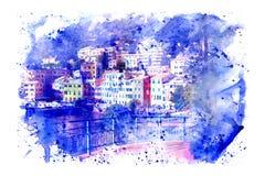 Watercolor της μαρίνας Γένοβα Nervi Στοκ φωτογραφία με δικαίωμα ελεύθερης χρήσης
