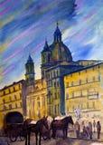 Watercolor της πλατείας Navona στη Ρώμη, Ιταλία Στοκ Εικόνες