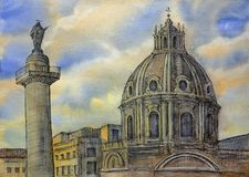 Watercolor της στήλης Trajan ` s στη Ρώμη, Ιταλία Στοκ εικόνα με δικαίωμα ελεύθερης χρήσης