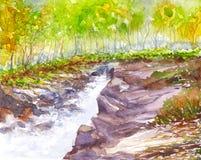 Watercolor τοπίων καταρρακτών που χρωματίζεται Στοκ Εικόνες