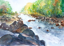 Watercolor τοπίων ποταμών που χρωματίζεται Στοκ εικόνες με δικαίωμα ελεύθερης χρήσης