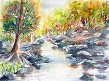Watercolor τοπίων ποταμών που χρωματίζεται Στοκ Φωτογραφία