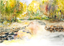 Watercolor τοπίων που χρωματίζεται Στοκ Εικόνες