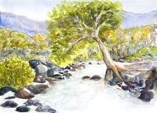 Watercolor τοπίων που χρωματίζεται Στοκ φωτογραφίες με δικαίωμα ελεύθερης χρήσης