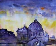 Watercolor του ναού στη Ρώμη, Ιταλία στοκ εικόνες