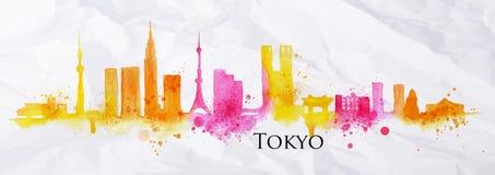 Watercolor Τόκιο σκιαγραφιών Στοκ Φωτογραφίες