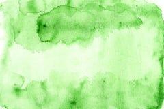 Watercolor υποβάθρου χέρι που χρωματίζεται πράσινο Στοκ Φωτογραφία