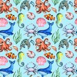 Watercolor φωτεινό Paterrn με πολλά διαφορετικά ζώα θάλασσας απεικόνιση αποθεμάτων