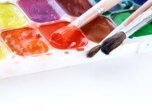 watercolor χρωμάτων βουρτσών Στοκ Φωτογραφίες