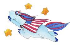 Watercolor-χρωματισμένος μονόκερος επ' ευκαιρία της ημέρας της ανεξαρτησίας της Αμερικής διανυσματική απεικόνιση