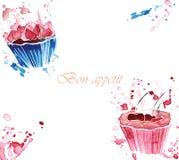 Watercolor δύο cupcakes με τους παφλασμούς Στοκ εικόνα με δικαίωμα ελεύθερης χρήσης