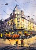 Ζωγραφική Watercolor - άποψη οδών του Παρισιού απεικόνιση αποθεμάτων