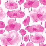 Άνευ ραφής ροζ σχεδίων παπαρουνών απεικόνιση αποθεμάτων