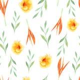 Τροπική ζωγραφική Watercolor του φύλλου και των λουλουδιών, άνευ ραφής σχέδιο στο άσπρο υπόβαθρο απεικόνιση αποθεμάτων