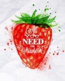 Φράουλα watercolor αφισών Στοκ εικόνα με δικαίωμα ελεύθερης χρήσης