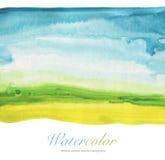 Αφηρημένο υπόβαθρο τοπίων watercolor χρωματισμένο χέρι Στοκ Εικόνες