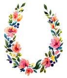 Χρωματισμένο χέρι στεφάνι watercolor Διακόσμηση λουλουδιών Στοκ Φωτογραφίες