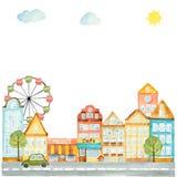 Στοιχεία Watercolor του αστικού σχεδίου, σπίτια, αυτοκίνητα Στοκ φωτογραφία με δικαίωμα ελεύθερης χρήσης