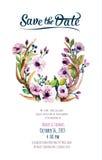 Διανυσματική κάρτα πρόσκλησης με τα στοιχεία watercolor Στοκ εικόνες με δικαίωμα ελεύθερης χρήσης